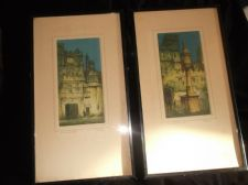 PAIR ANTIQUE FRAMED GLAZED TINTED PRINTS SIGNED F ROBSON OXFORD COLLEGES